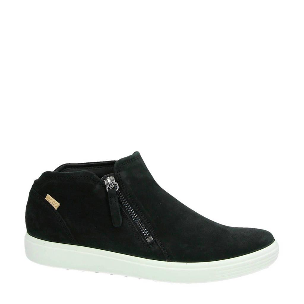 Ecco nubuck sneakers Soft 7 zwart, Zwart