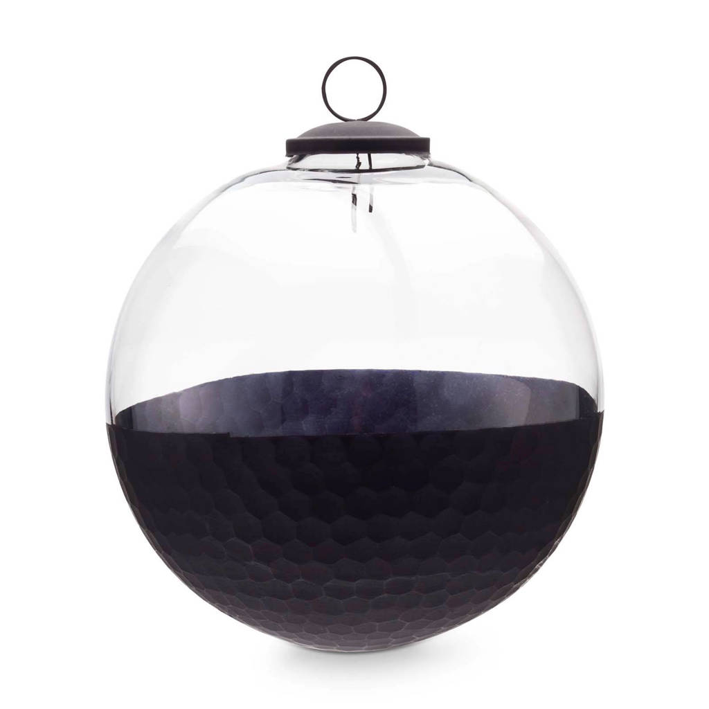 vtwonen glazen kerstbal (Ø15 cm), Zwart/transparant