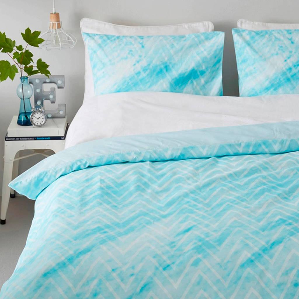 Good Morning katoenen dekbedovertrek lits jumeaux, Lits-jumeaux (240 cm breed), Blauw/wit
