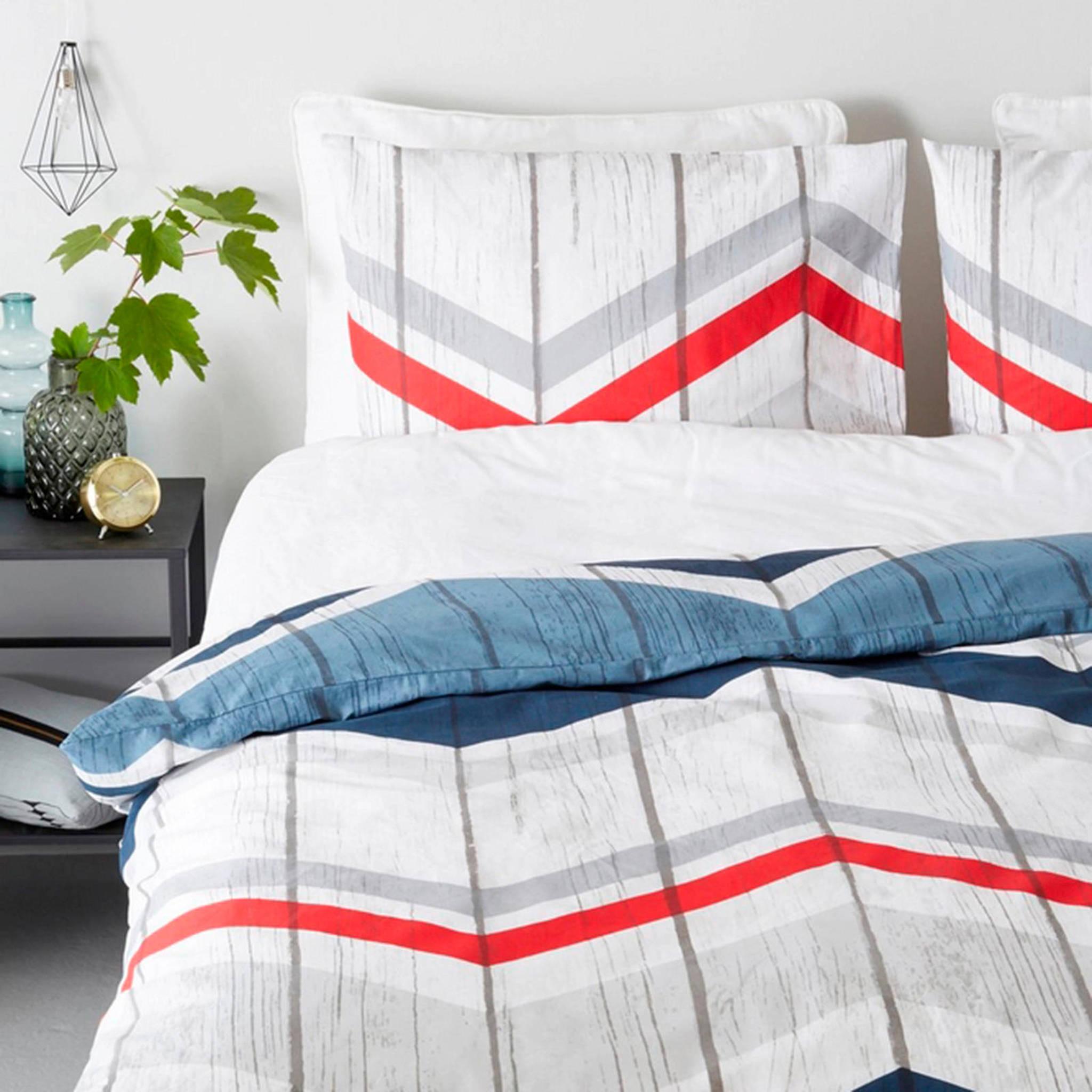 good morning katoenen dekbedovertrek lits jumeaux blauw