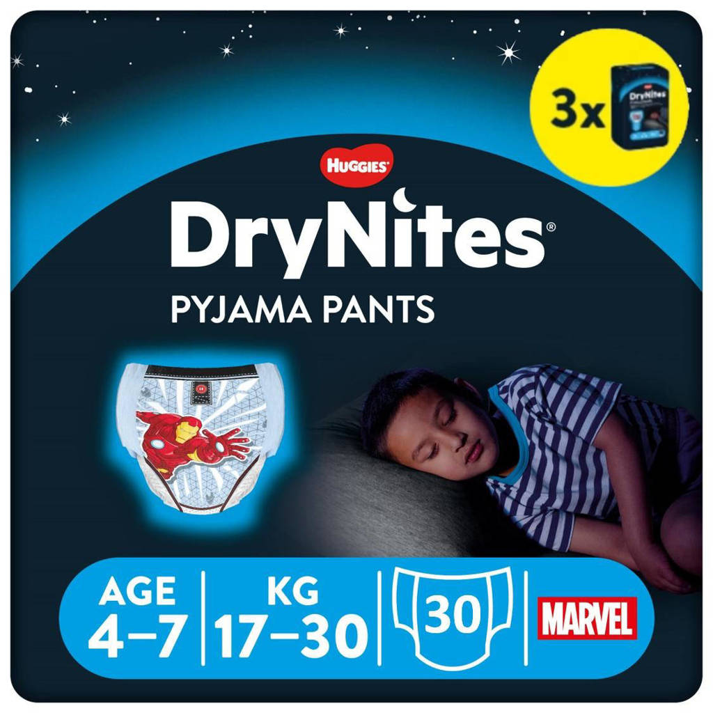 Huggies DryNites Pyjama Pants Boy 4-7 Years (17-30kgs) 3 pakken, M: 4-7 jaar