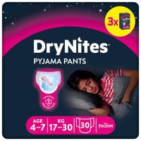 Huggies DryNites Pyjama Pants Girl 4-7 Years (17-30kgs) 3 pakken, M: 4-7 jaar