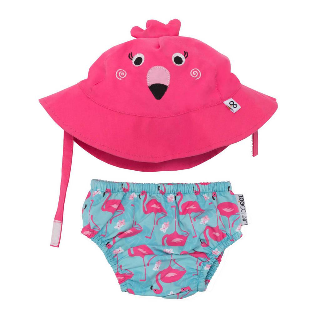 Zoocchini Franny the flamingo zwemluier + zonnehoedje maat S, S: 3-6 maanden, Roze