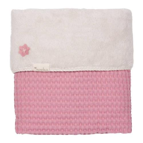 Wiegdeken Wafel-Teddy Oslo Blush Pink-Pebble