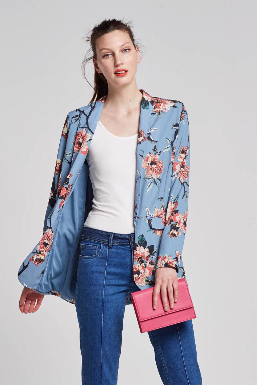 whkmp's own gevoerde crépe geweven blazer, Blauw/roze/zwart