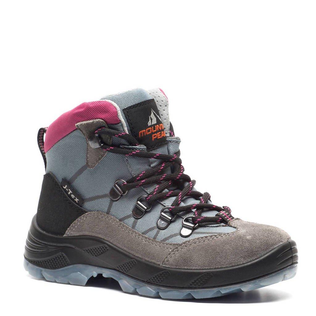 2dfb8724ff2 Mountain Peak leren wandelschoenen, Grijs/roze/zwart/beige