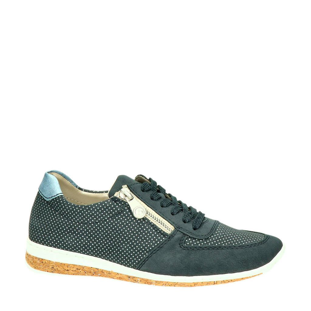 Rieker  sneakers met nubuck, Donkerblauw/wit/lichtblauw