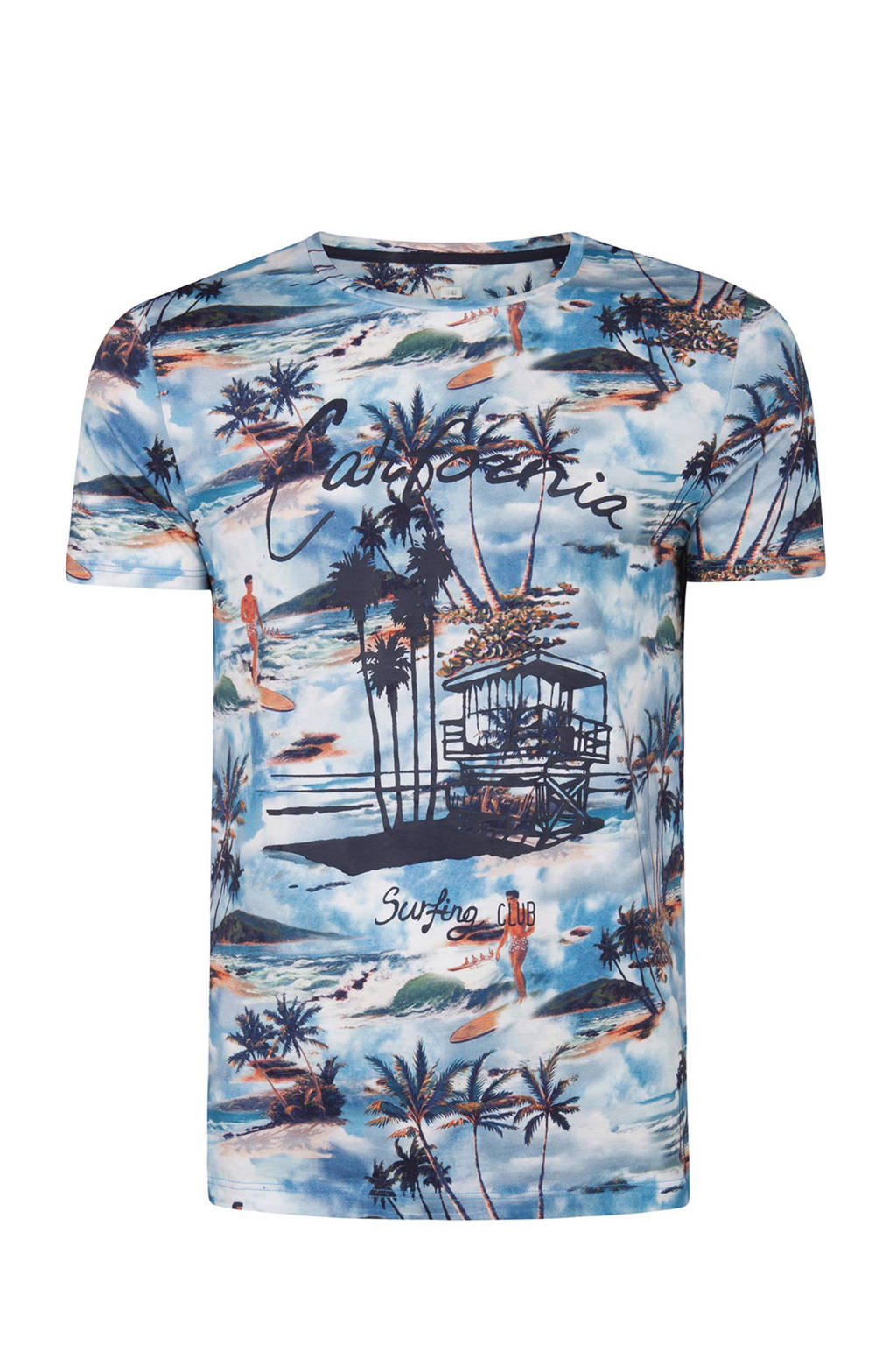 WE Fashion slim fit T-shirt met all-over print blauw, Blauw