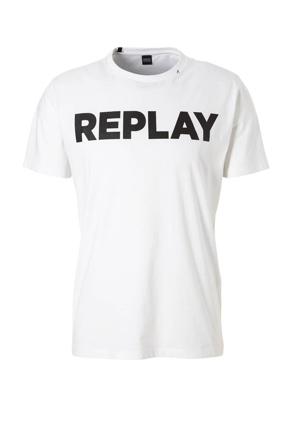 REPLAY T-shirt, Wit/zwart