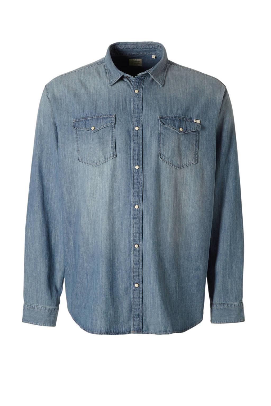 JACK & JONES PLUS SIZE regular fit overhemd blue denim, Blue denim