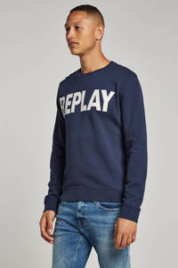 REPLAY sweater met logo donkerblauw, Donkerblauw