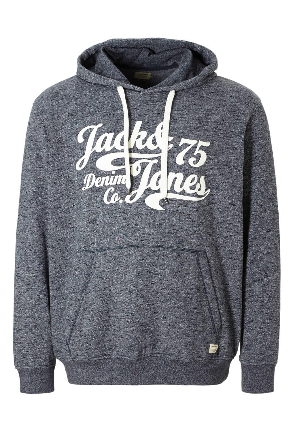 Jack & Jones Plus Size hoodie, Donkerblauw/wit