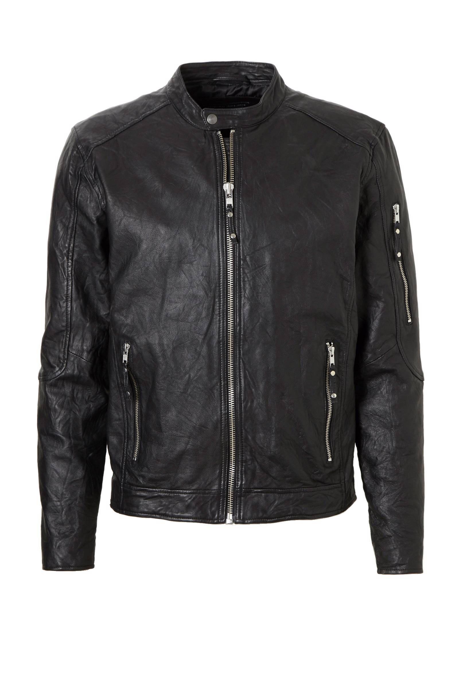 top mode koop uitverkoop promotie JACK & JONES Biker Leren Jas Heren Zwart