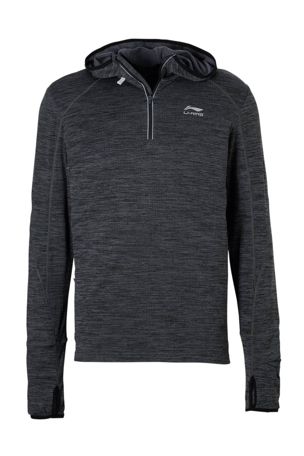 Li-Ning   hardloopsweater antraciet, Antraciet