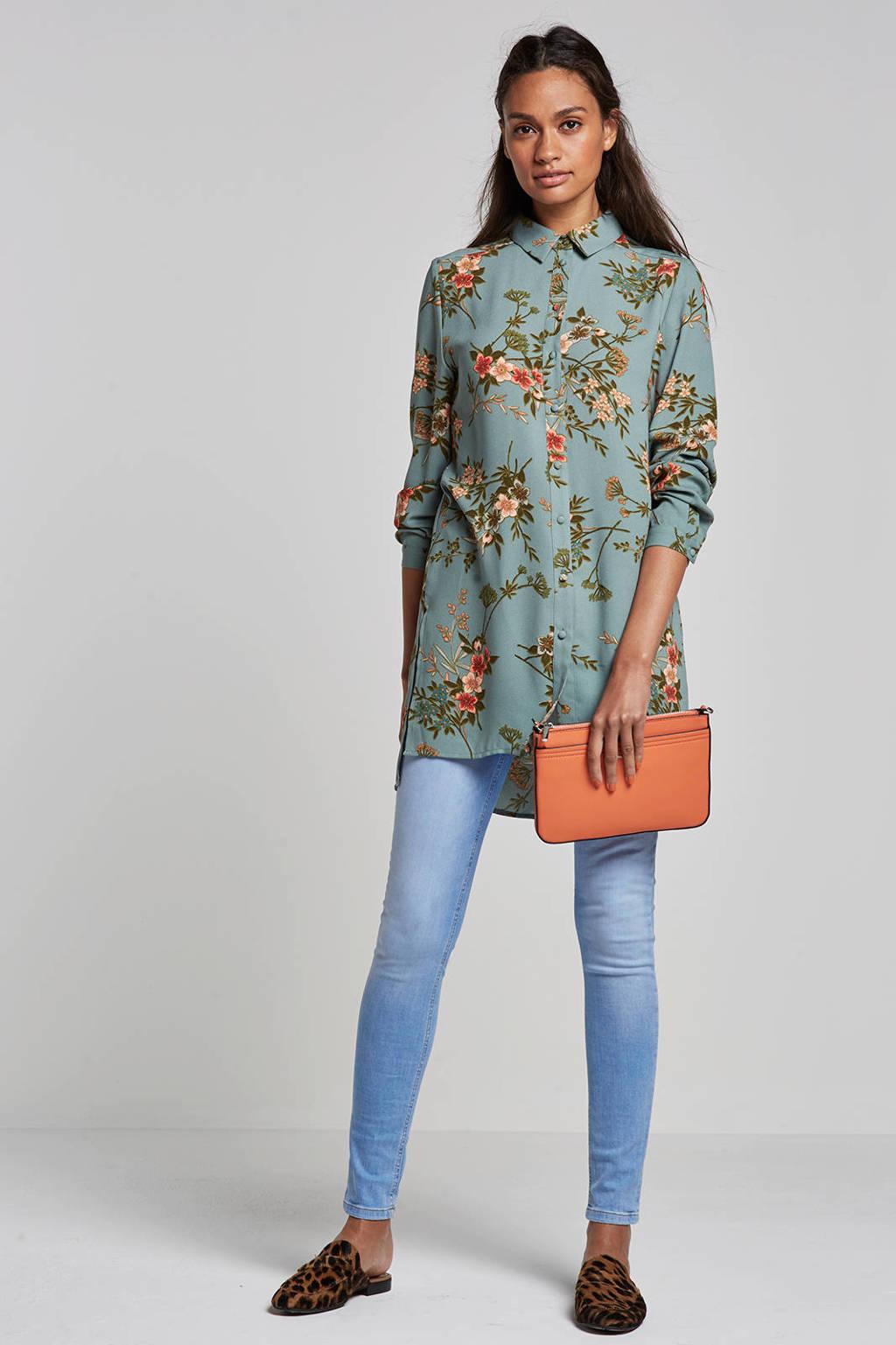 whkmp's own blouse met bloemenprint, Zeegroen