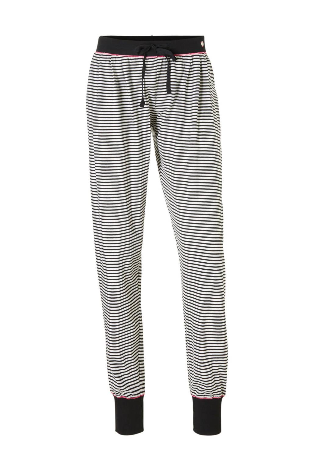 ESPRIT Women Bodywear pyjamabroek met streep, Zwart/wit