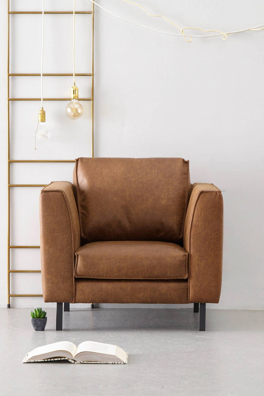 whkmp's own eco-leren fauteuil Rio, Cognac