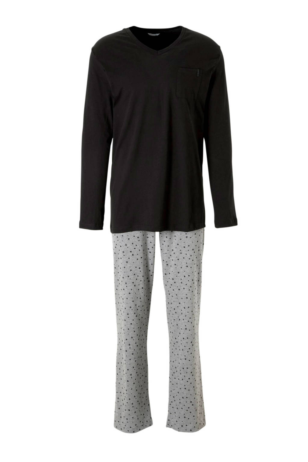 ESPRIT Men Bodywear pyjama met sterren blauw, Zwart/grijs