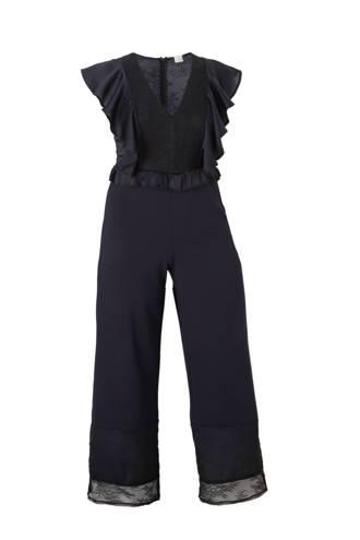 Plus straight fit jumpsuit met kant