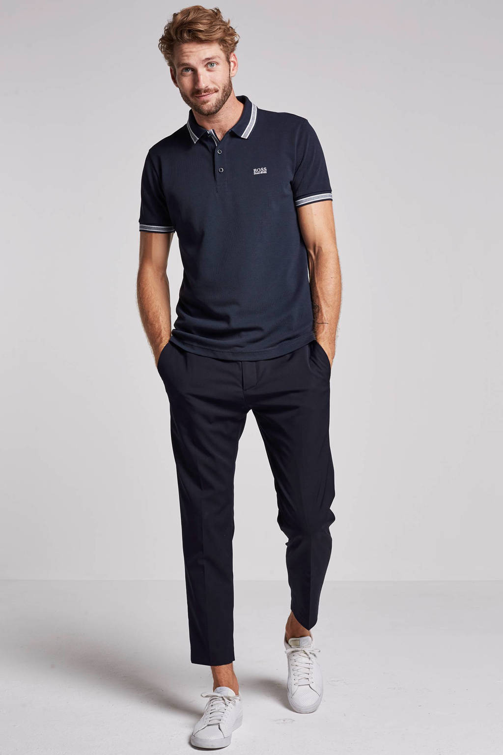 Boss Athleisure regular fit polo, Donkerblauw