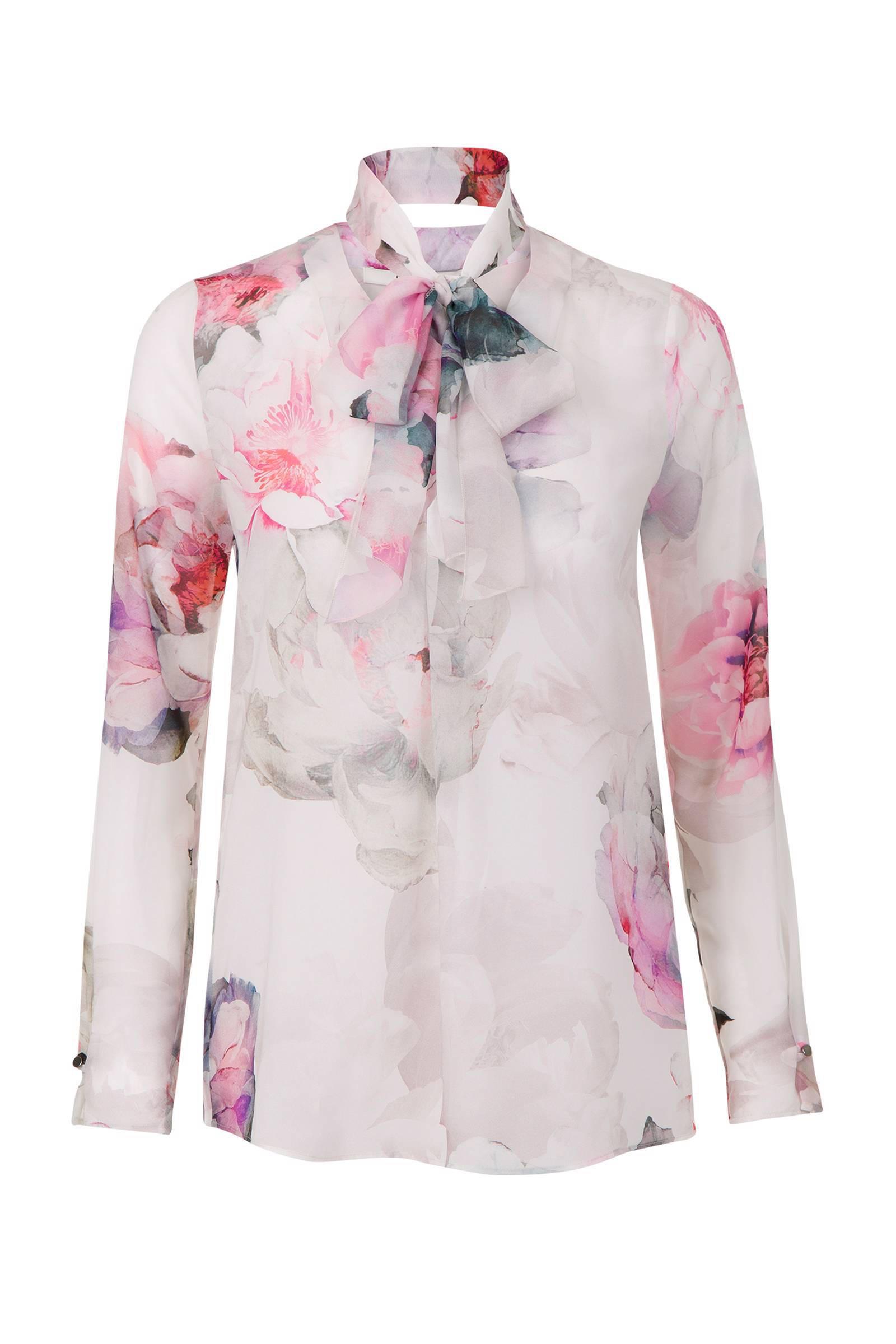 witte blouse met bloemen