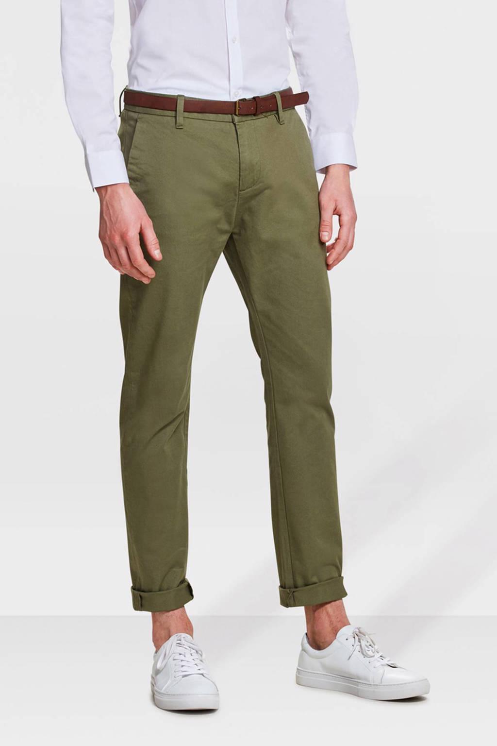 WE Fashion Blue Ridge Bobby skinny fit chino olijfgroen, Olijfgroen