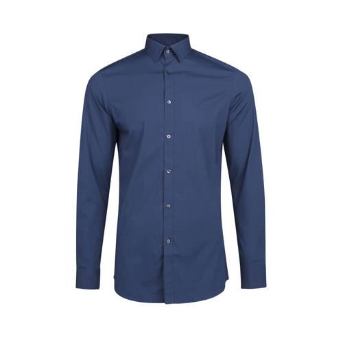 WE Fashion slim fit overhemd grijsblauw