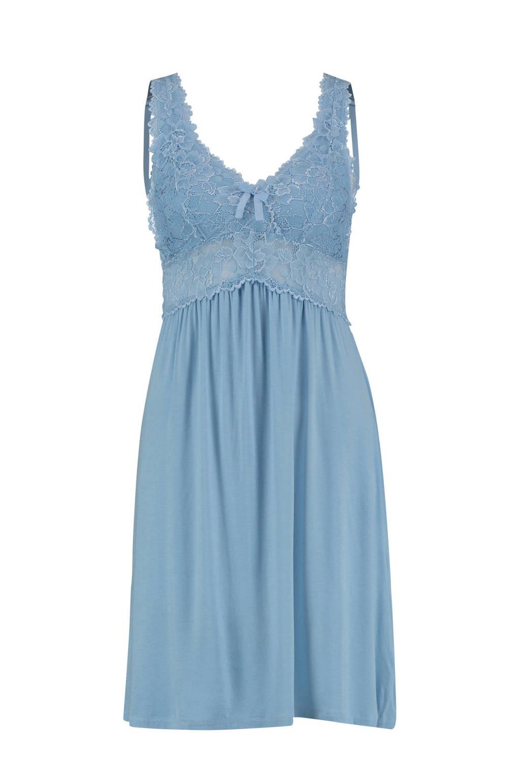 Hunkemöller Modal Lace slipdress, Lichtblauw