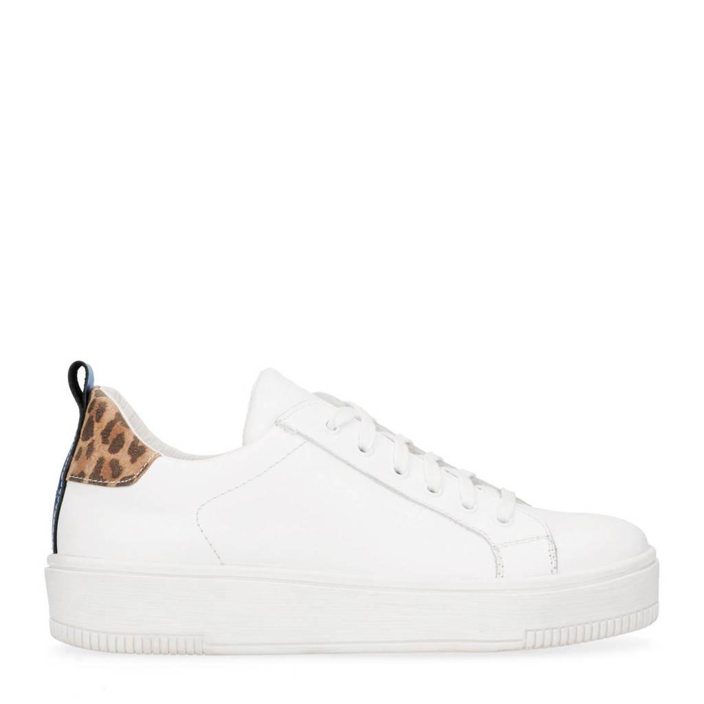1a8475fb8f7 Manfield leren sneakers met luipaardprint, Wit/bruin/beige/blauw