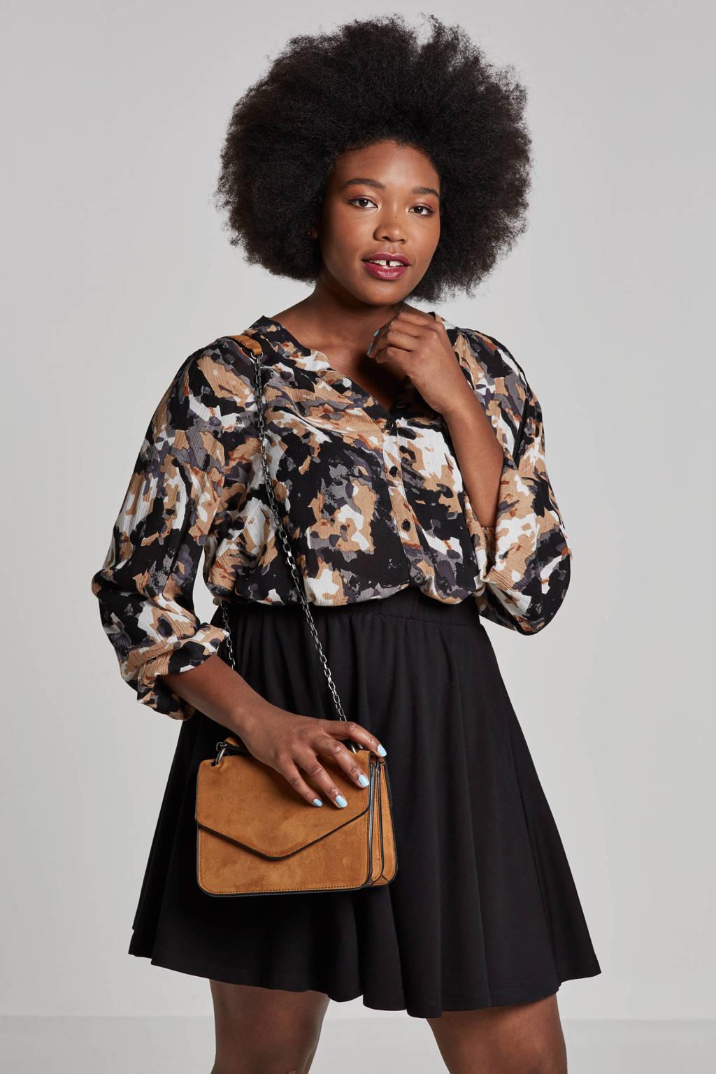 Adia blouse met all over print, Beige/zwart