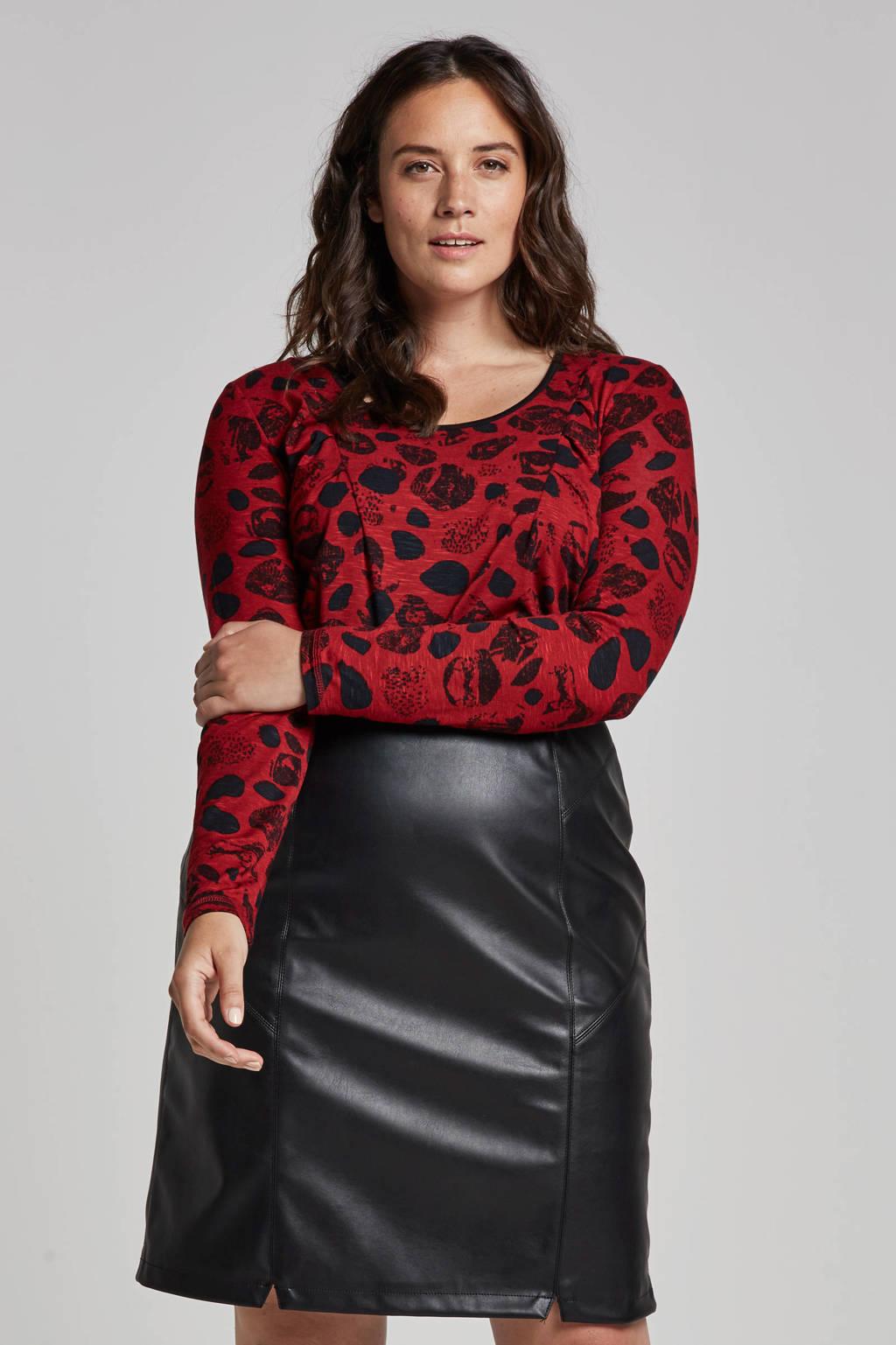 Adia top met all over print, Rood/zwart