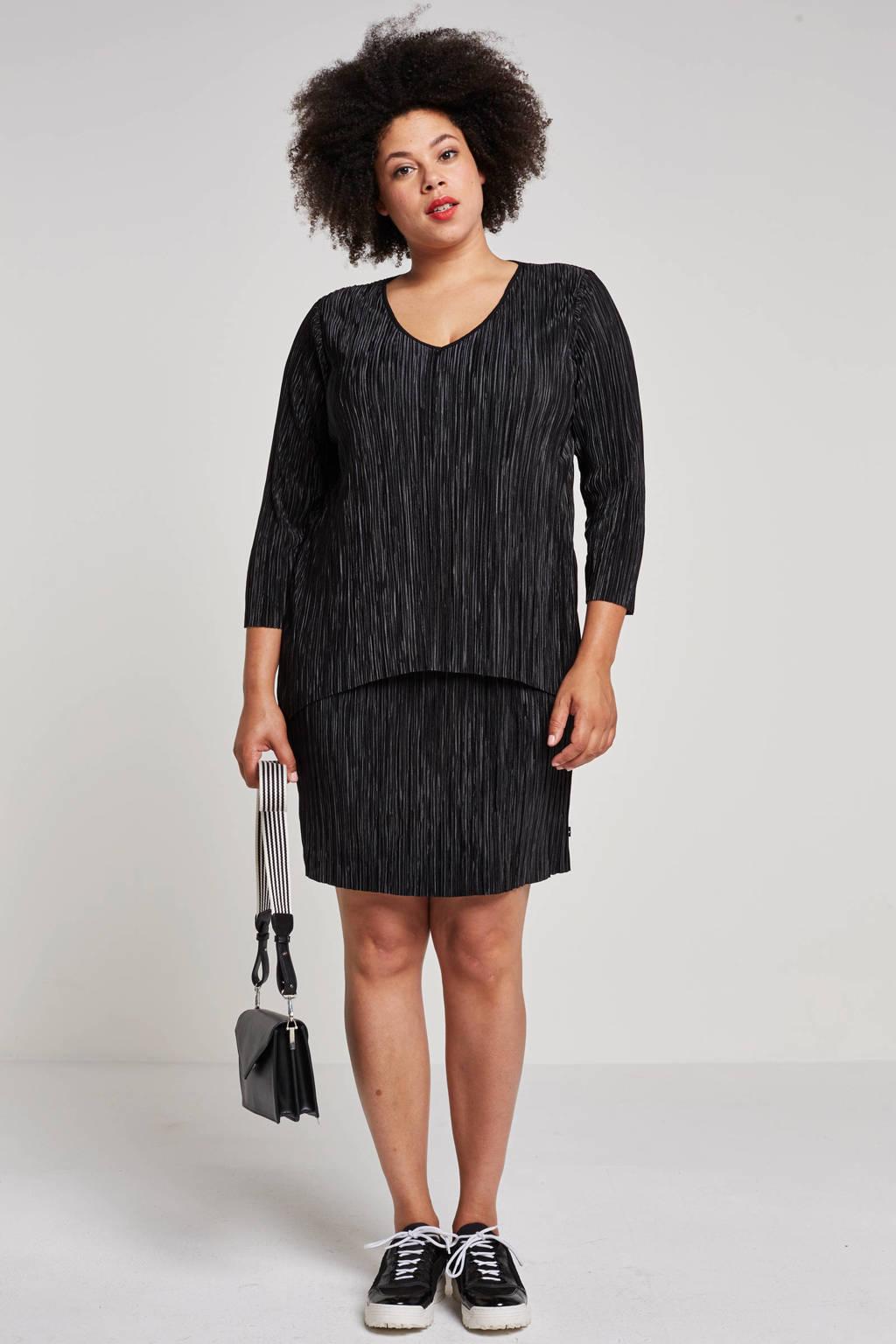 Adia plissé jurk met overlapdetail, Zwart