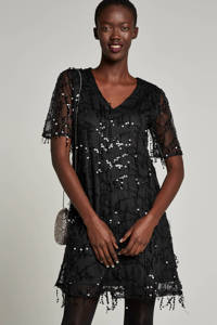 whkmp's own gevoerde mesh jurk met pailletten, Zwart