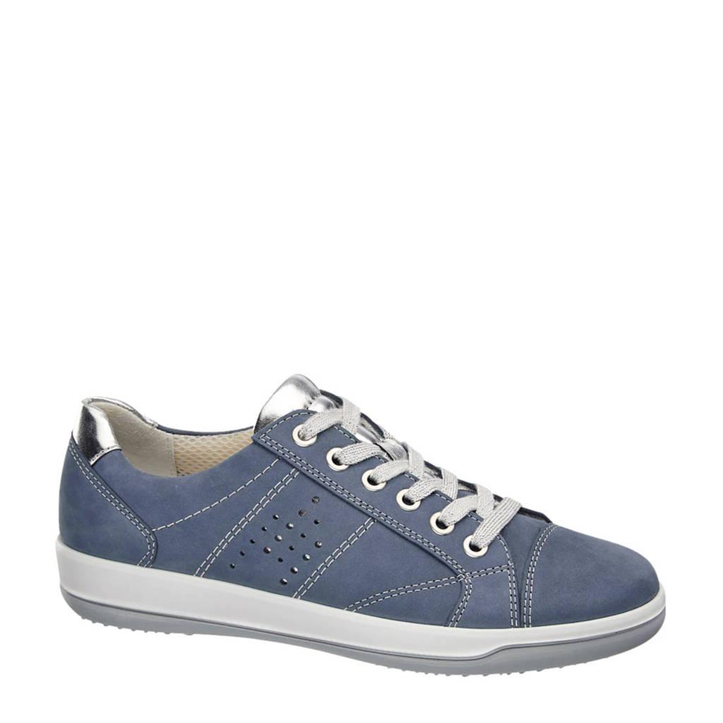 vanHaren Medicus  leren sneakers, Blauw/zilver