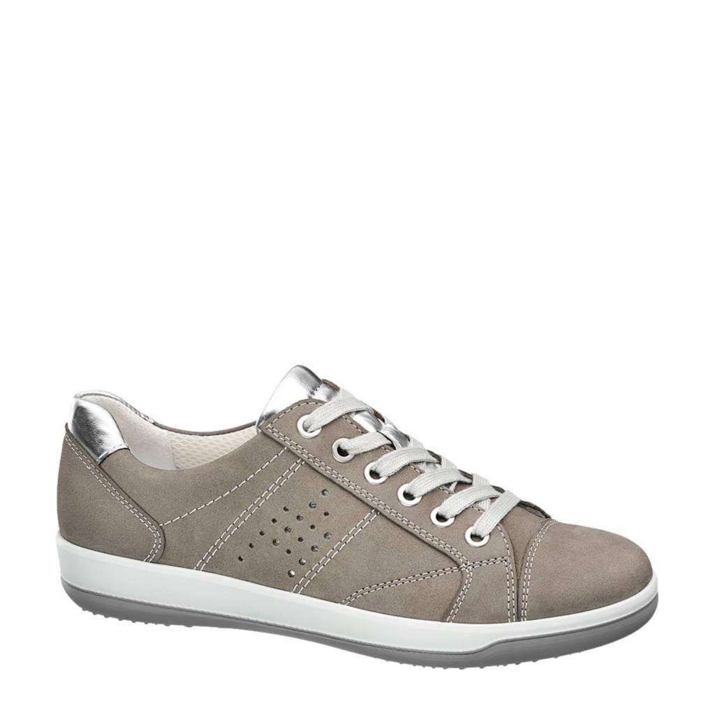 vanHaren Medicus  leren sneakers, Grijs/zilver