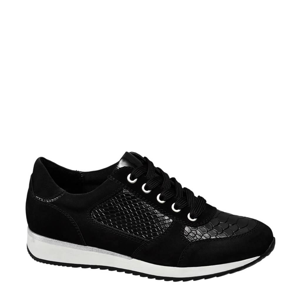 vanHaren Medicus  leren sneakers met reptielenprint, Zwart