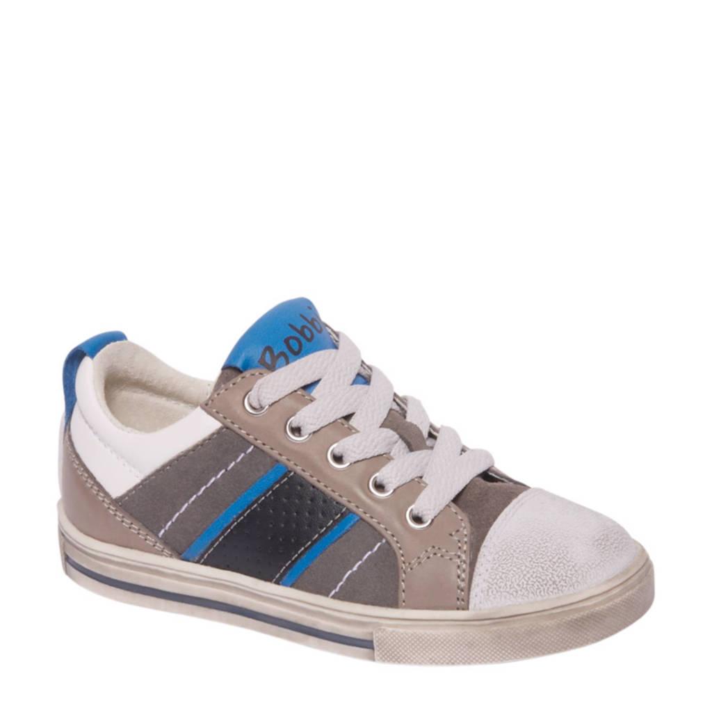 vanHaren Bobbi-Shoes  leren sneakers met strepen, Grijs/wit/antreciet/blauw/zwart
