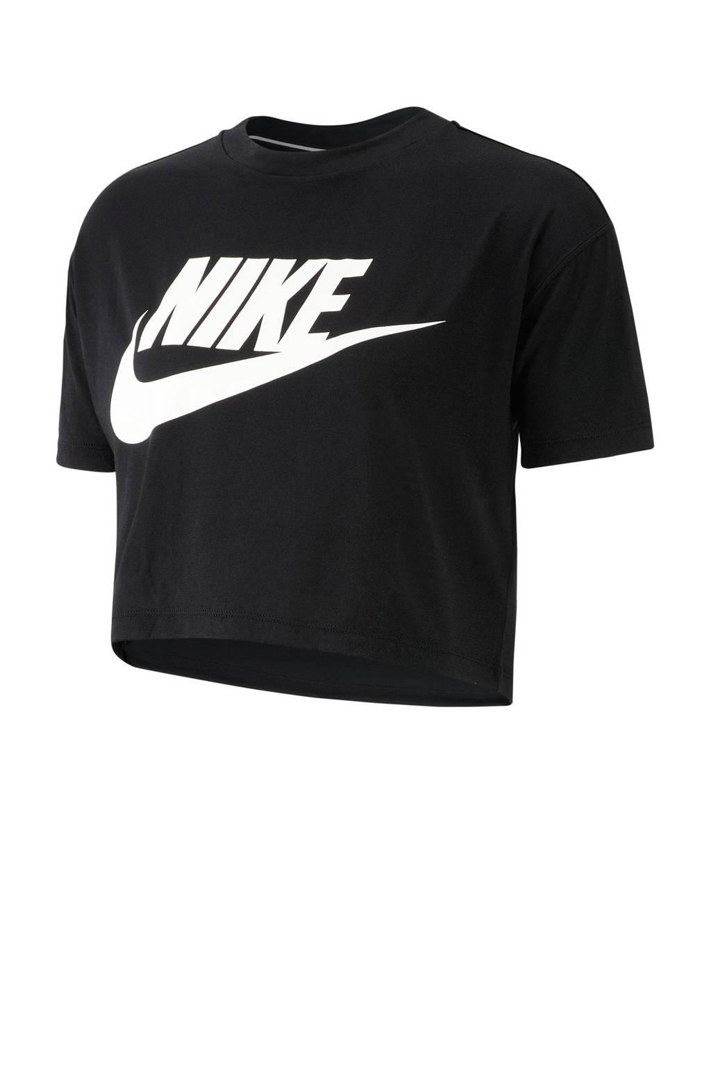 f22e7e5faad Nike crop T-shirt zwart, zwart/ wit