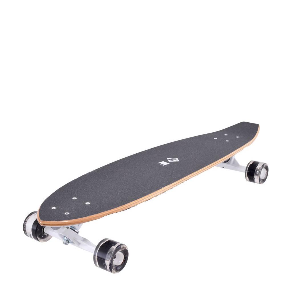 StreetSurfing Kicktail Rumble longboard, Zwart/wit