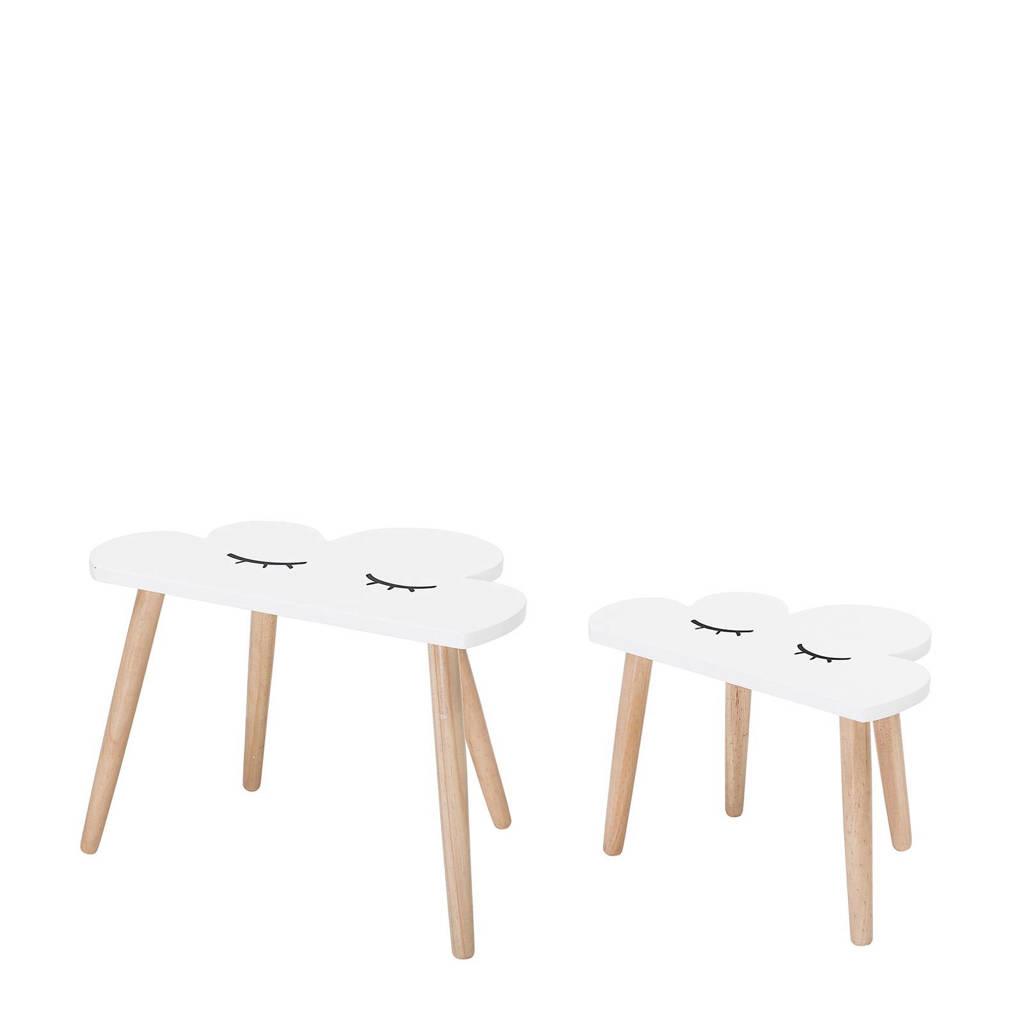 Bloomingville Mini bijzettafel (set van 2), Wit/hout