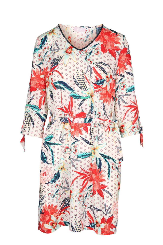 Cassis bloemen jurk, Ecru/zalm/donkerblauw/turquoise
