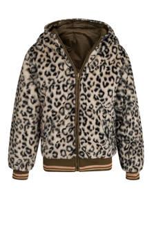 omkeerbare jas met dierenprint bruin/groen