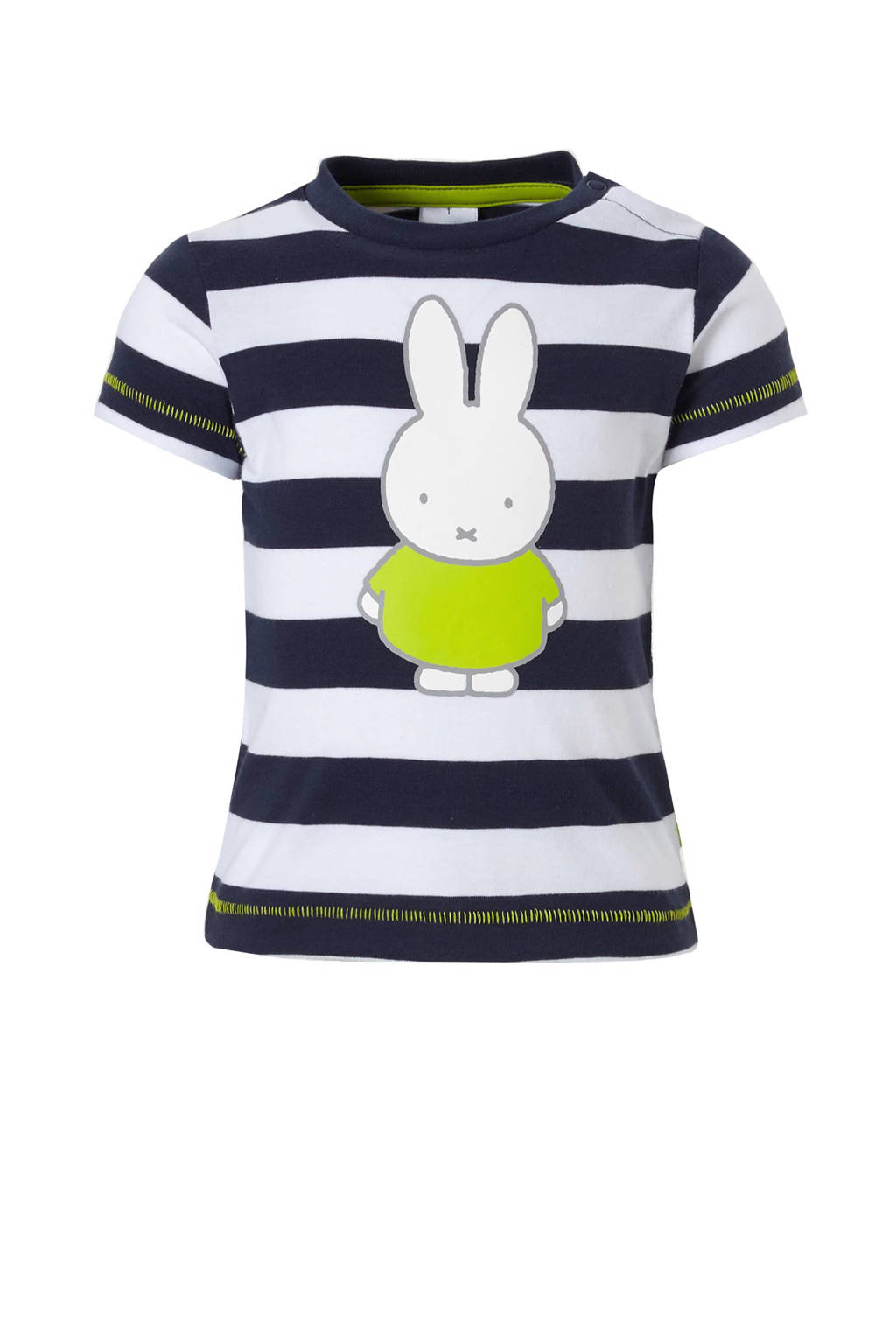 C&A nijntje strepen T-shirt, Donkerblauw/wit/limegroen