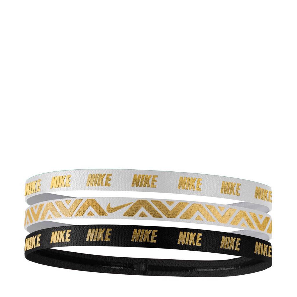 Nike   haarbandjes (set van 3), Goud/wit/zwart