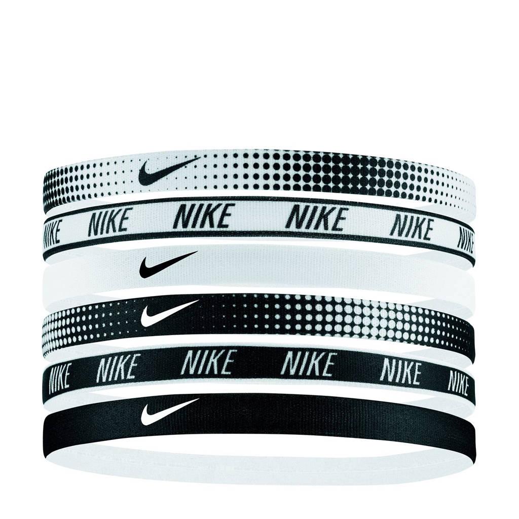 Nike   hoofdbandjes Printed (set van 6), Zwart/wit