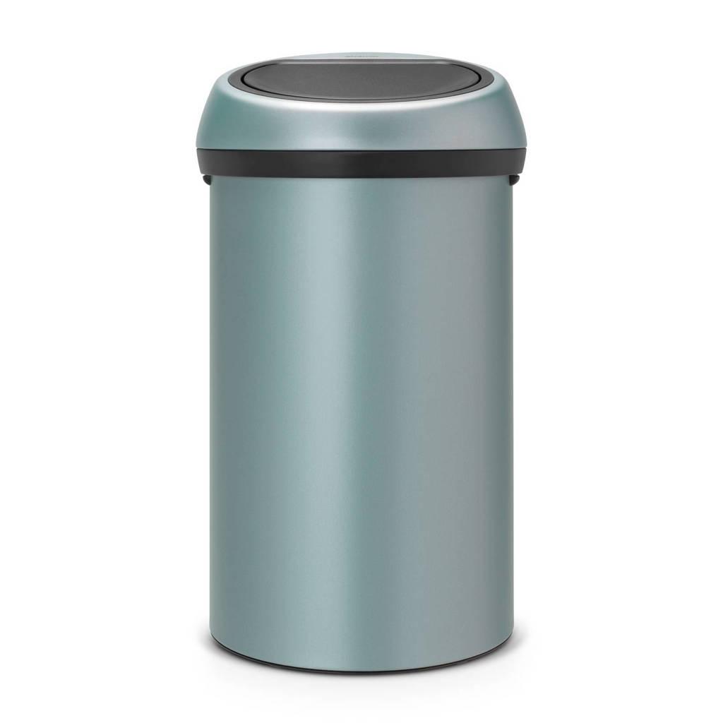 Brabantia Touch Bin, 60 liter prullenbak, Metallic Mint