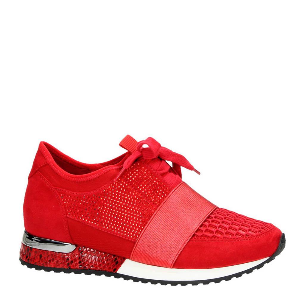 La Strada  sneakers met steentjes rood, Rood