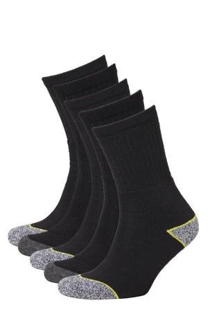 worker sokken - set van 5 zwart