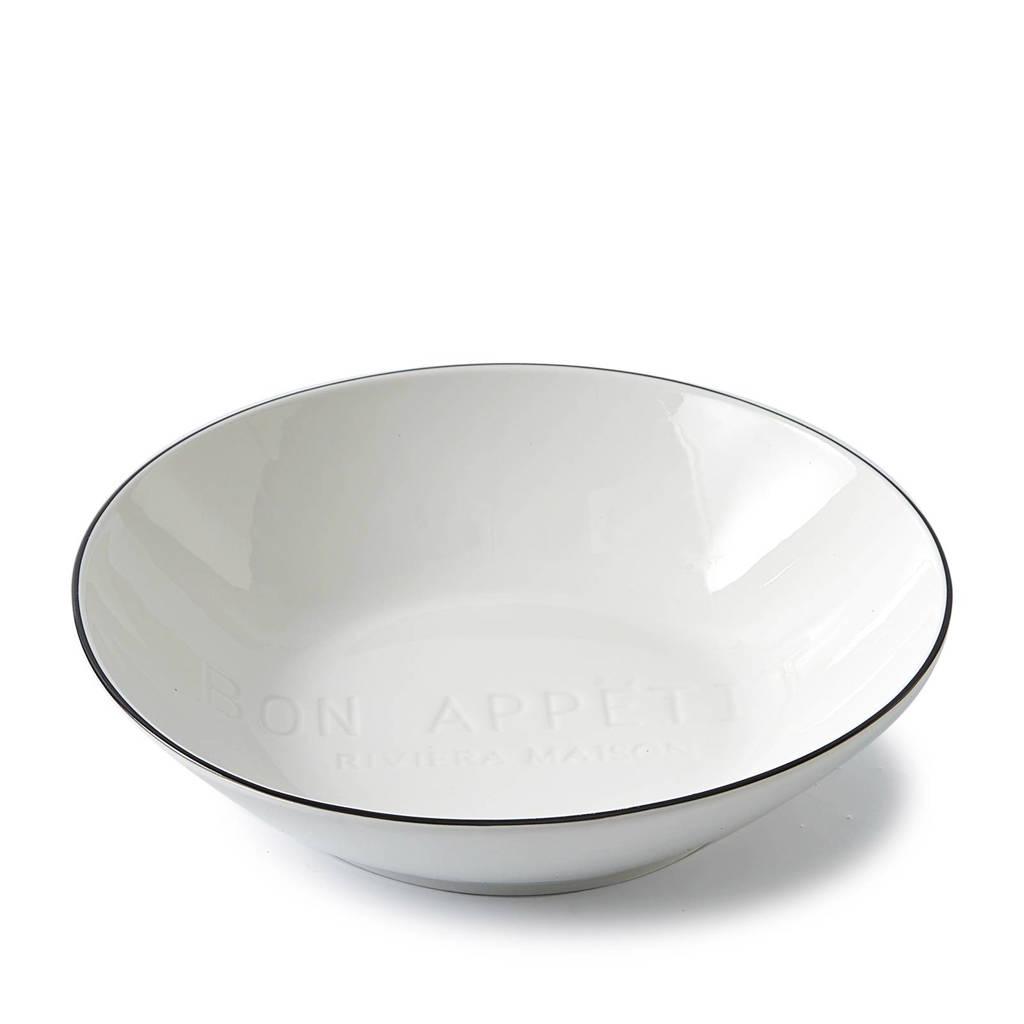 Riviera Maison Bon Appetit schaal (Ø20,7 cm), Wit/zwart