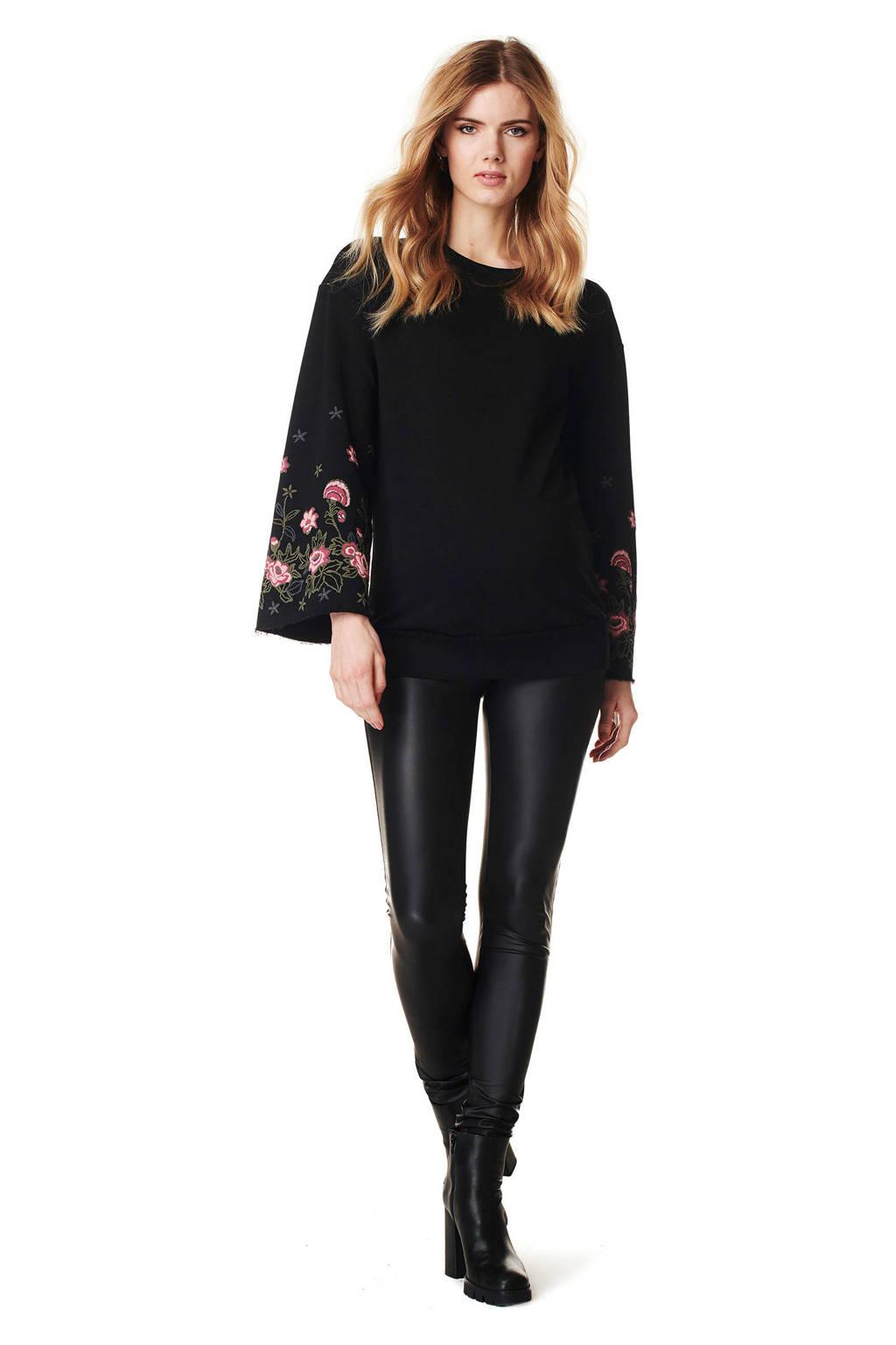 Supermom zwangerschaps sweater met borduursels, Zwart/roze/bruin